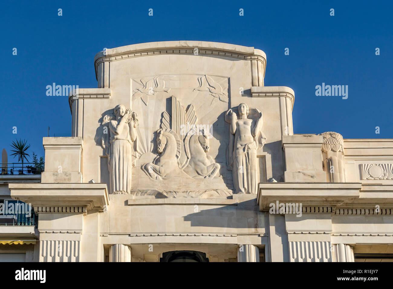 Francia, Nizza Promenade des Anglais, Palais la Mediterranee, Hotel, Casino, facciata in stile Art Deco progettato da Antoine Sartorio, teatro di Nizza, Immagini Stock