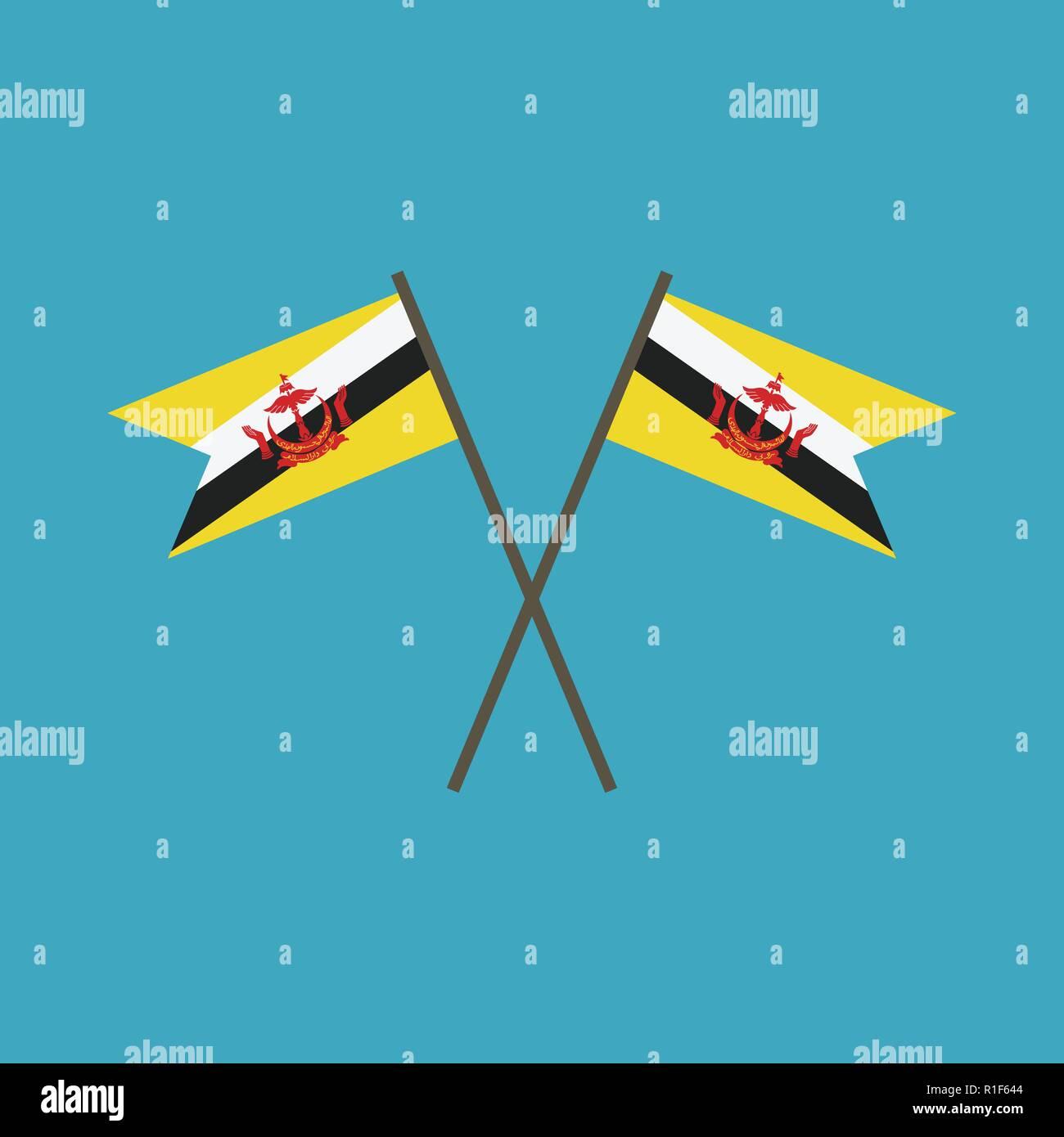 Brunei icona bandiera in design piatto. Giorno di indipendenza o giornata nazionale il concetto di vacanza. Immagini Stock