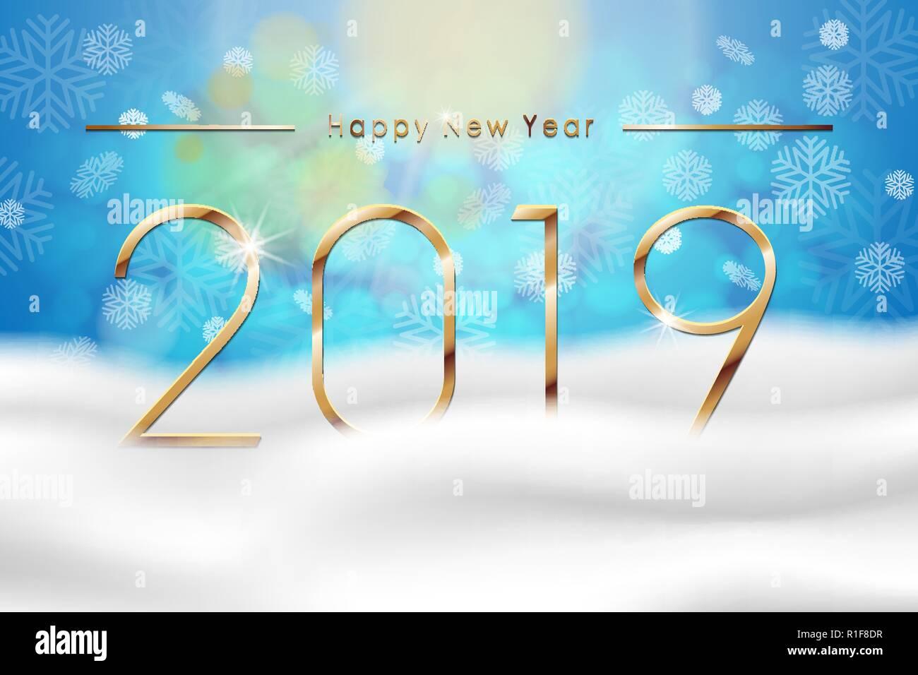 Astratto Sfondo Pallavolo Disegno Vettoriale: Felice Anno Nuovo 2019 Con Blu Di Sfondo Inverno Con La