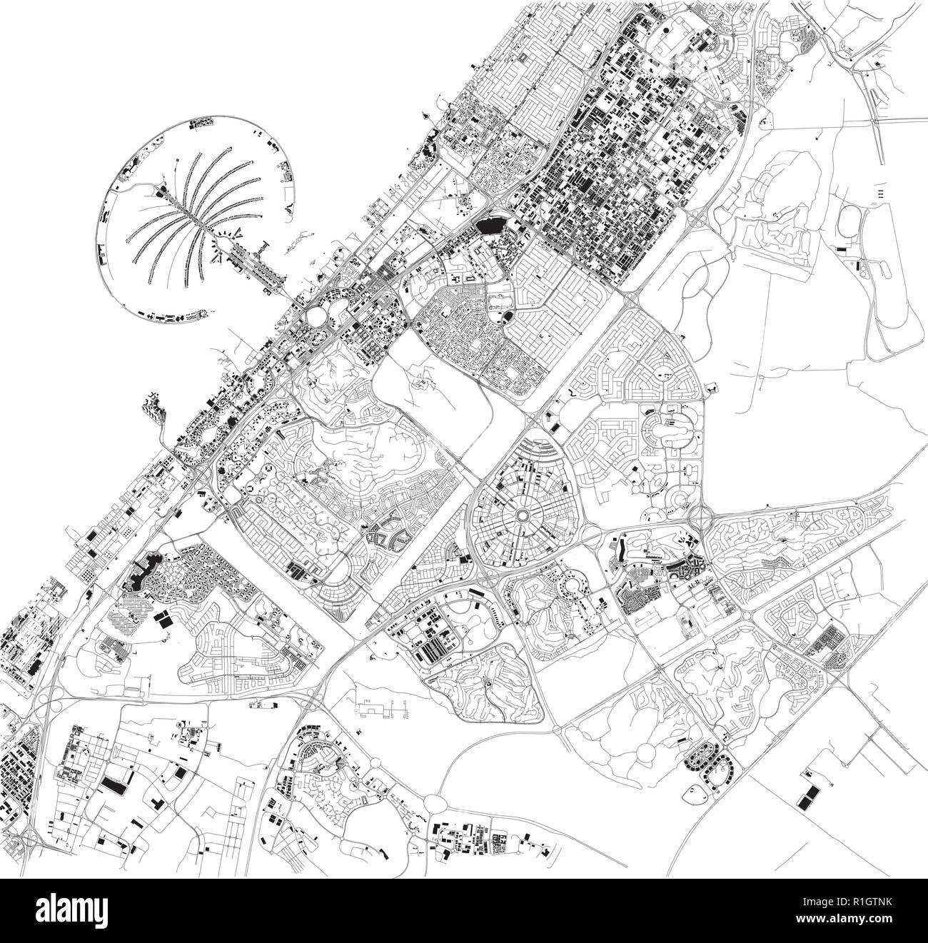 Cartina Geografica Di Dubai.Mappa Satellitare Di Dubai Emirati Arabi Uniti Strade Della Citta Cartina Stradale E Mappa Del Centro Citta Immagine E Vettoriale Alamy