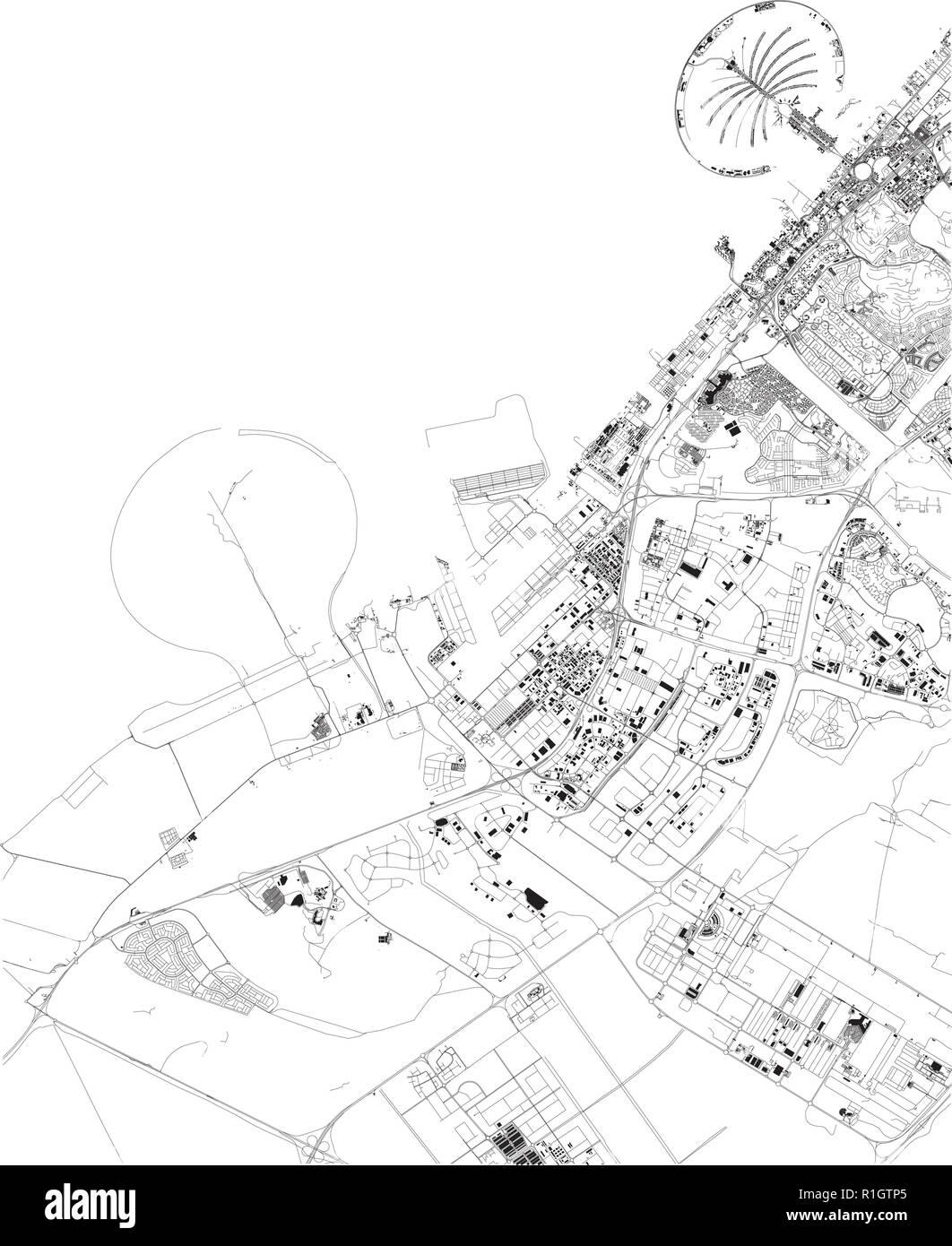 Cartina Geografica Satellitare.Mappa Satellitare Di Dubai Emirati Arabi Uniti Strade Della Citta Cartina Stradale E Mappa Del Centro Citta Immagine E Vettoriale Alamy