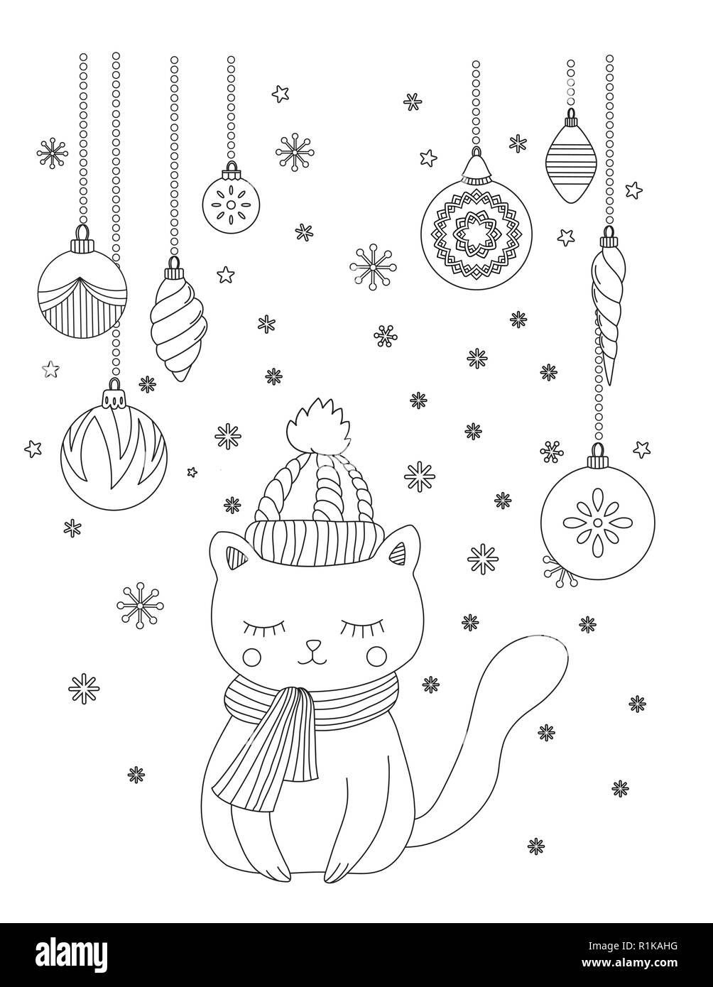 Natale Pagina Da Colorare Per Bambini E Adulti Cute Cat Con