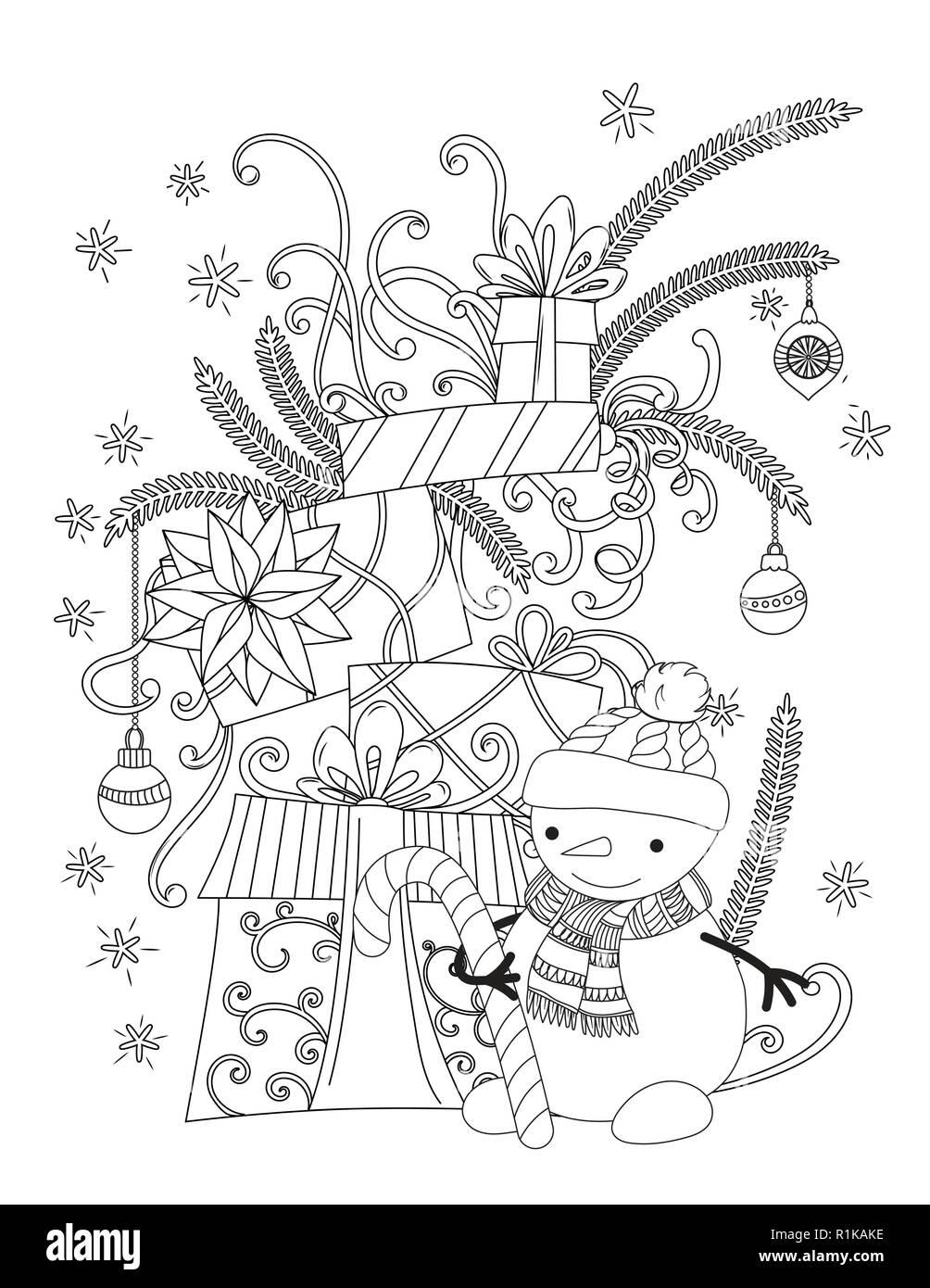 Natale Pagina Da Colorare Per Bambini E Adulti Carino