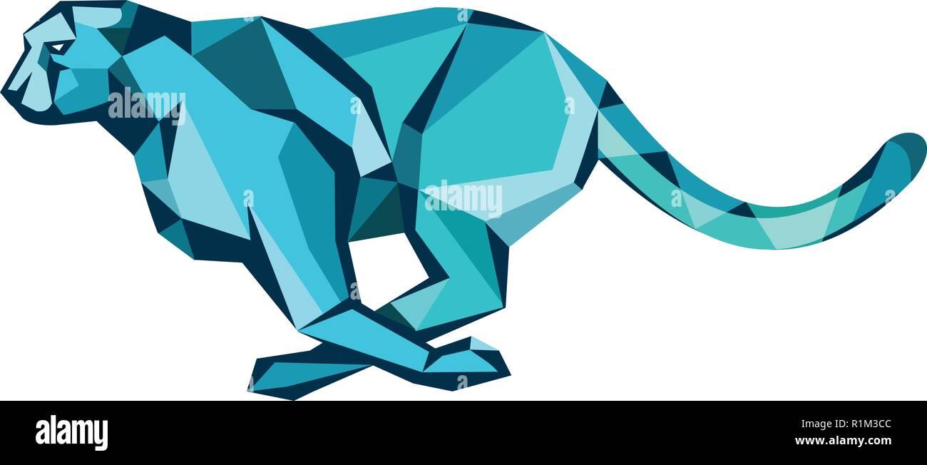 Basso Stile del poligono illustrazione di ghepardi correre per la sua preda visto dal lato su sfondo isolato. Immagini Stock