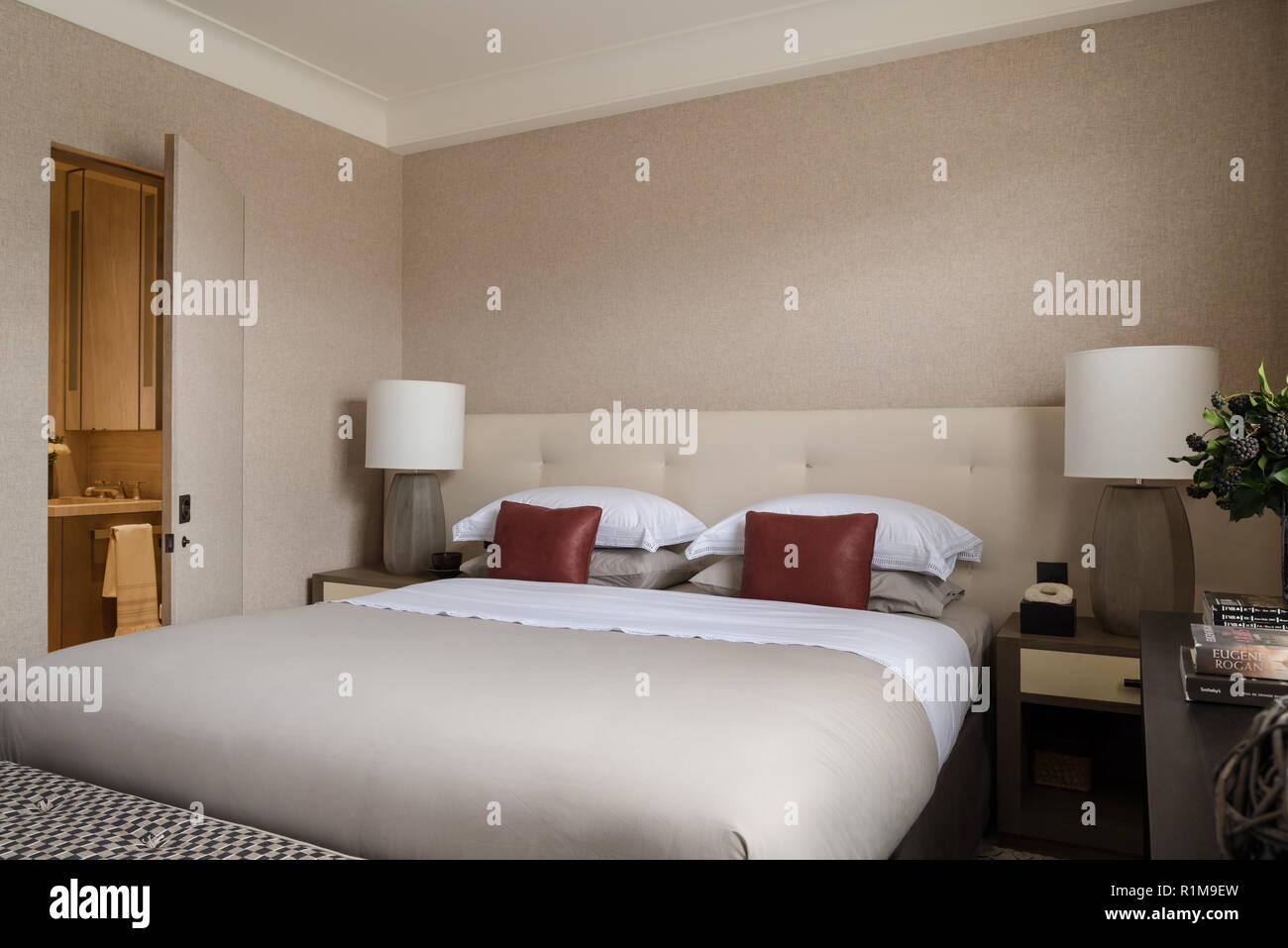 Moderna camera da letto con bagno Foto & Immagine Stock: 224795953 ...