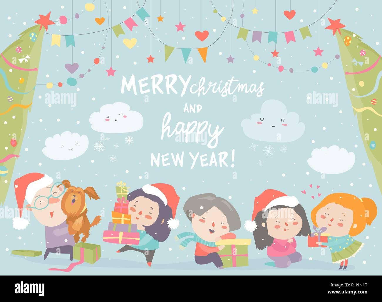 Buon Natale Per Bambini.Cartoon Felici I Bambini Con I Regali Di Natale Auguri Di Buon