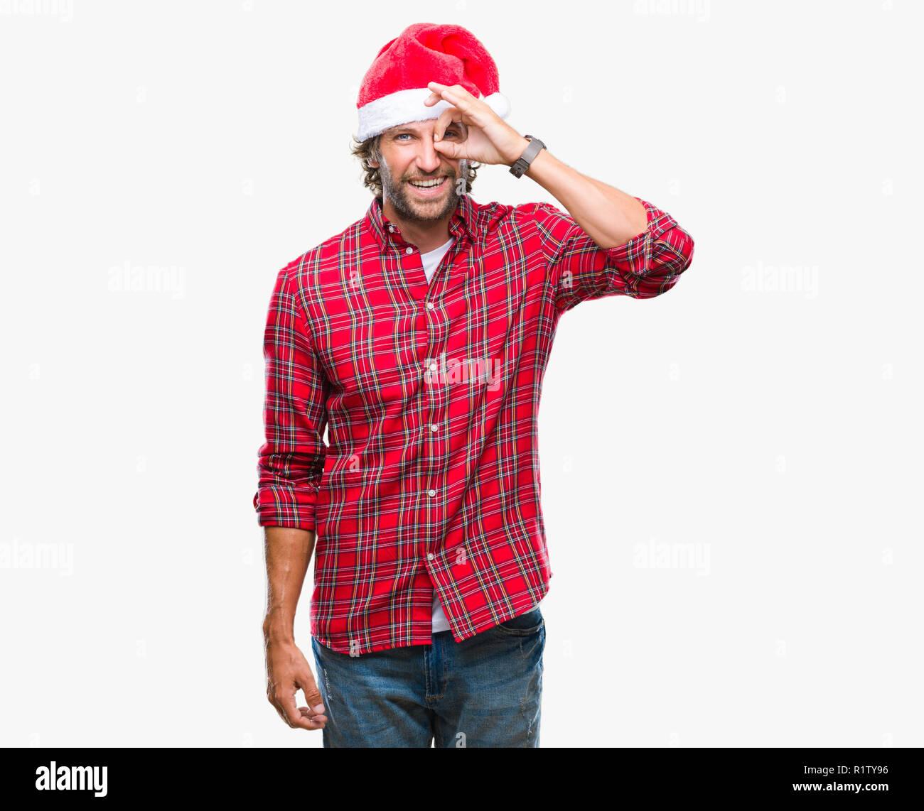 Babbo Natale Uomo Bello.Bello Ispanica Modello Uomo Indossa Babbo Natale Natale Su Sfondo Isolata Facendo Ok Gesto Con La Mano Sorridendo Occhio Guardando Attraverso Le Dita Wit Foto Stock Alamy