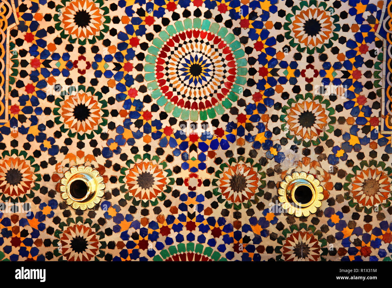 Piastrelle colorate del mausoleo di mohammed v rabat marocco foto