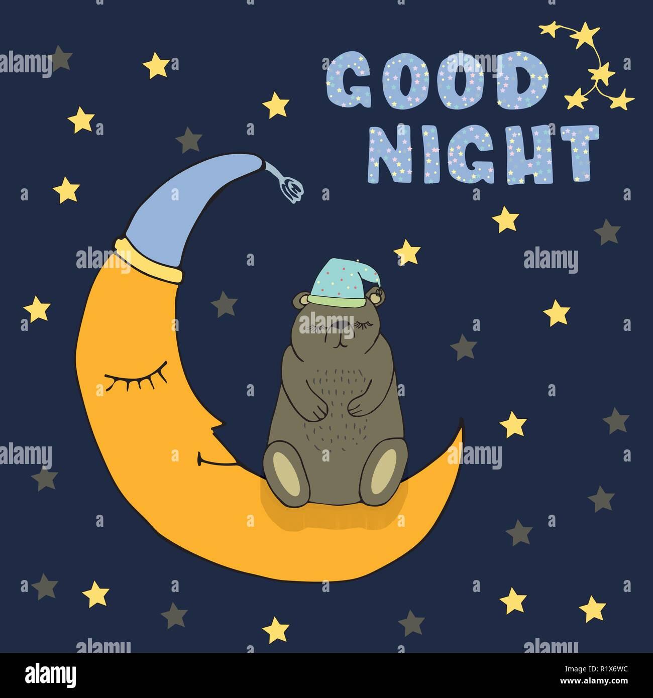 Buona Notte Card Con Sleeping Bear E La Luna Le Stelle Disegnati A