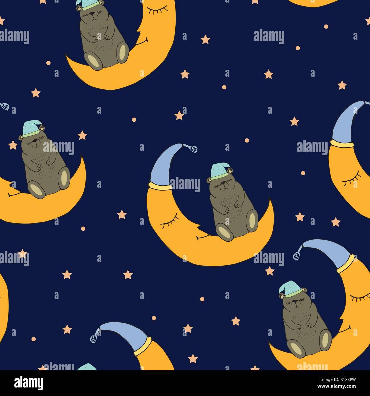 Buona Notte Seamless Pattern Con Abbastanza Sleeping Bear La Luna E