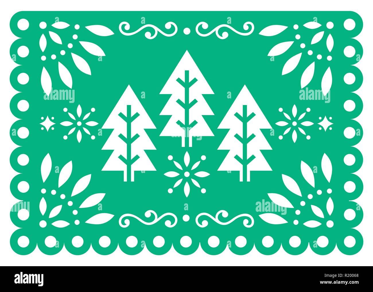 Decorazioni Di Natale Disegni.Natale Papel Picado Disegno Vettoriale Con Alberi Di Natale