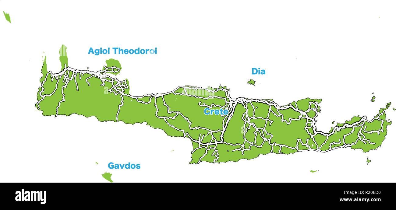 Cartina Geografica Dell Isola Di Creta.Mappa Dell Isola Di Creta Illustrazione Vettoriale Modello Per L Arte Al Muro E La Commercializzazione In Formato Quadrato Immagine E Vettoriale Alamy