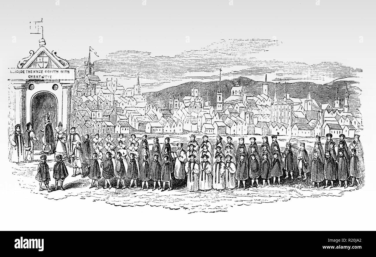Una processione di Giacomo I a San Paolo, accompagnato dal Principe di Galles e molti della nobiltà, domenica 26 marzo, 1620 Immagini Stock