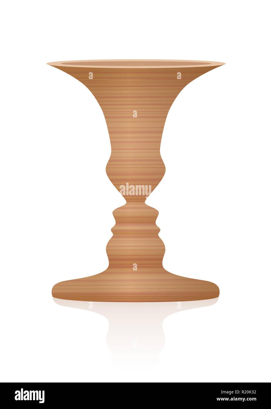 Vaso con due facce di profilo, illusione ottica. Testurizzato di legno tridimensionale del vaso. In psicologia noto come identificare la figura da sfondo. Immagini Stock