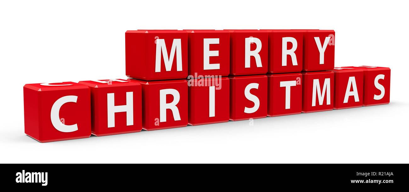 Buon Natale 3d.Cubi Rossi Con Buon Natale Su Un Tavolo Bianco Tridimensionale