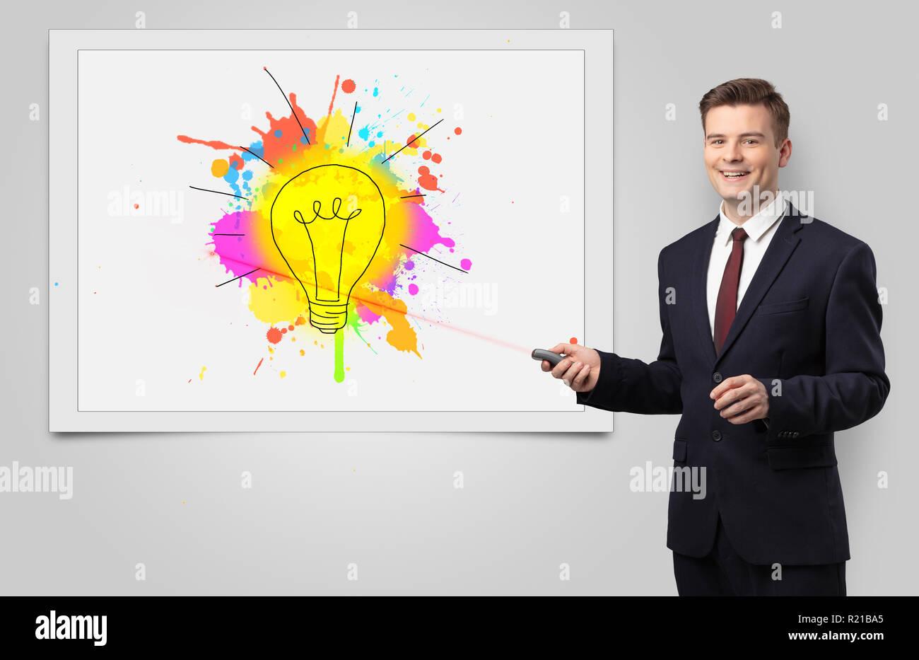 Uomo con puntatore laser presentazione idea innovativa Immagini Stock
