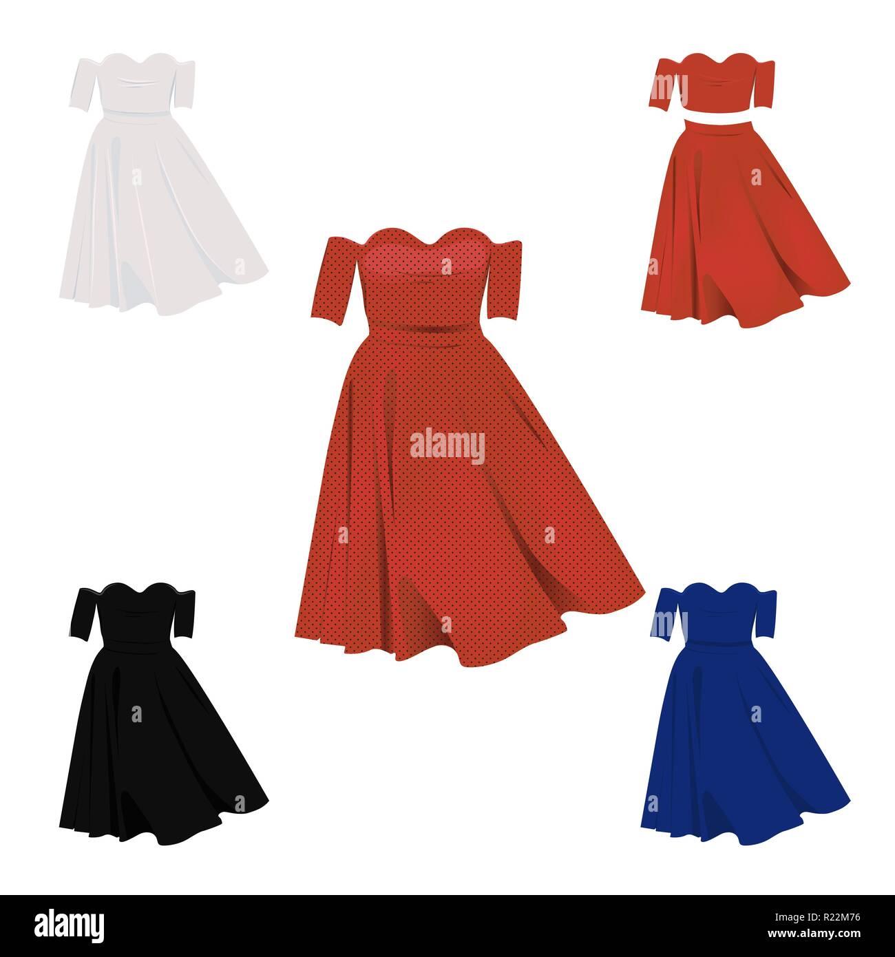 huge discount 69b48 2f3eb Senza spalla vestito in rosso, bianco, blu e nero i colori ...