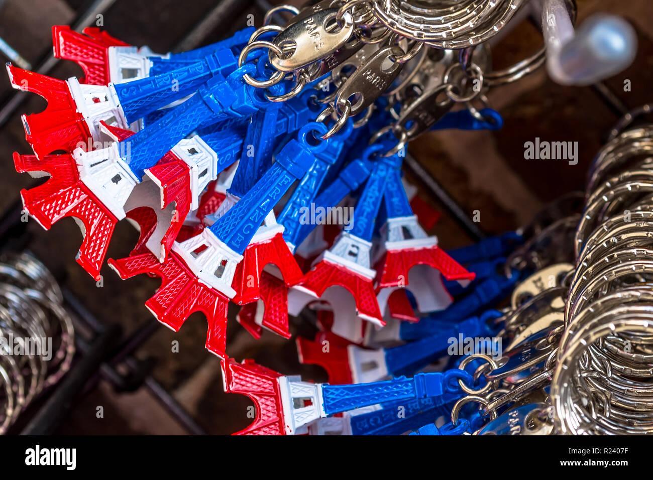 Torre Eiffel anelli chiave Immagini Stock