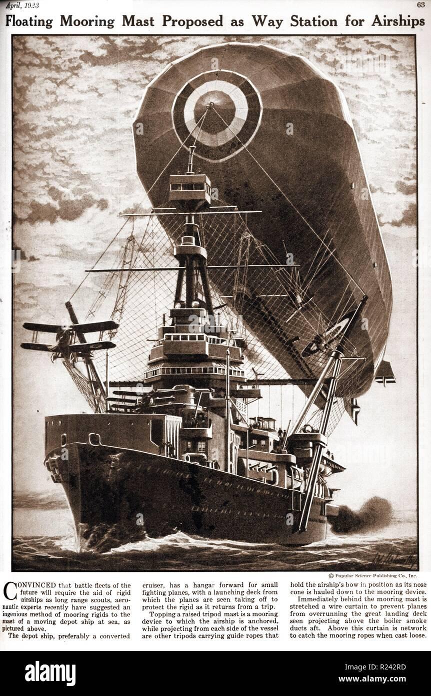 Flottante montante di ormeggio. Concetto di una docking station per i dirigibili 1937 Foto Stock