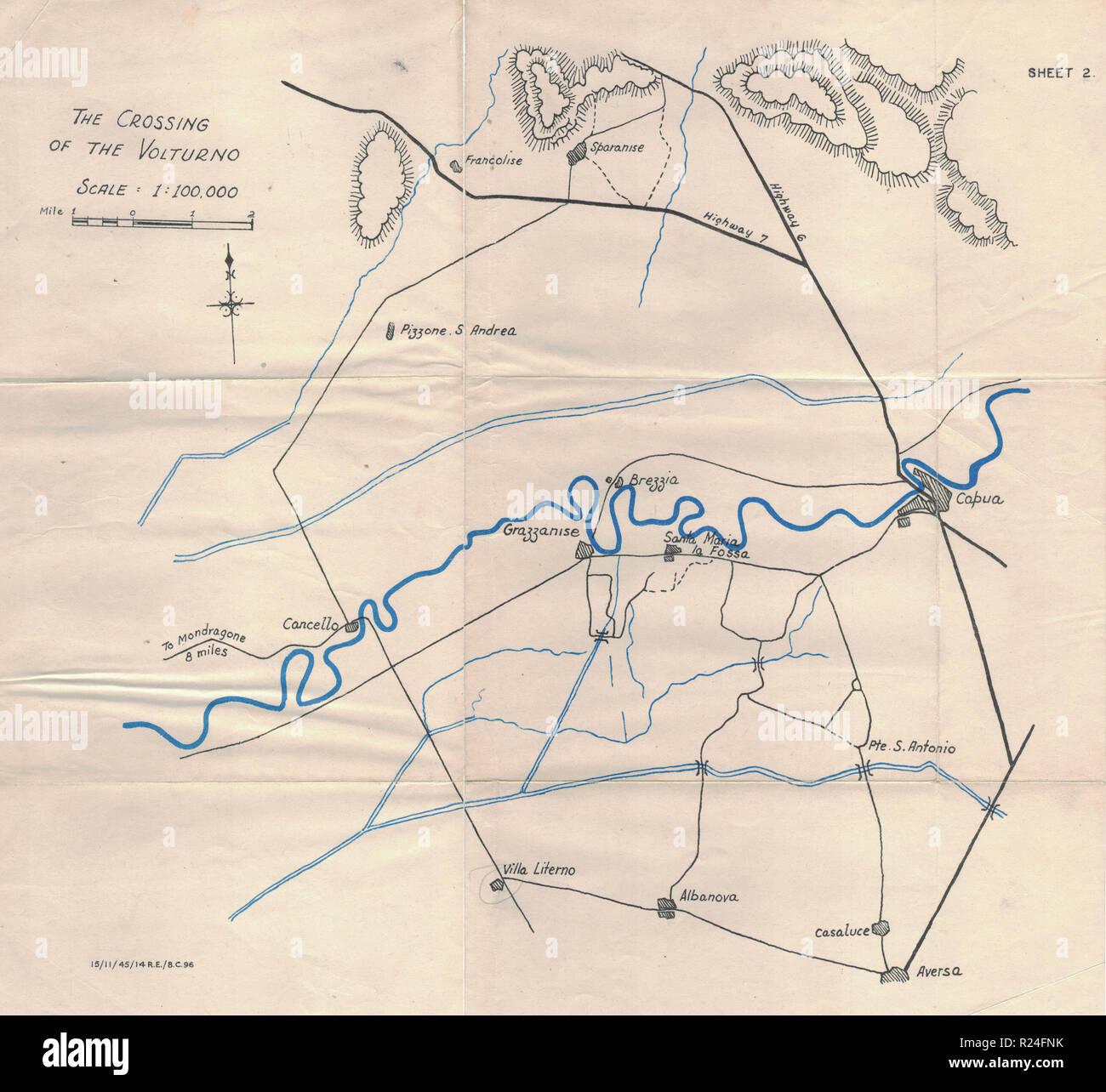 Guerra Mondiale 2 Campagna europea mappe 1945, attraversando il Volturno Immagini Stock