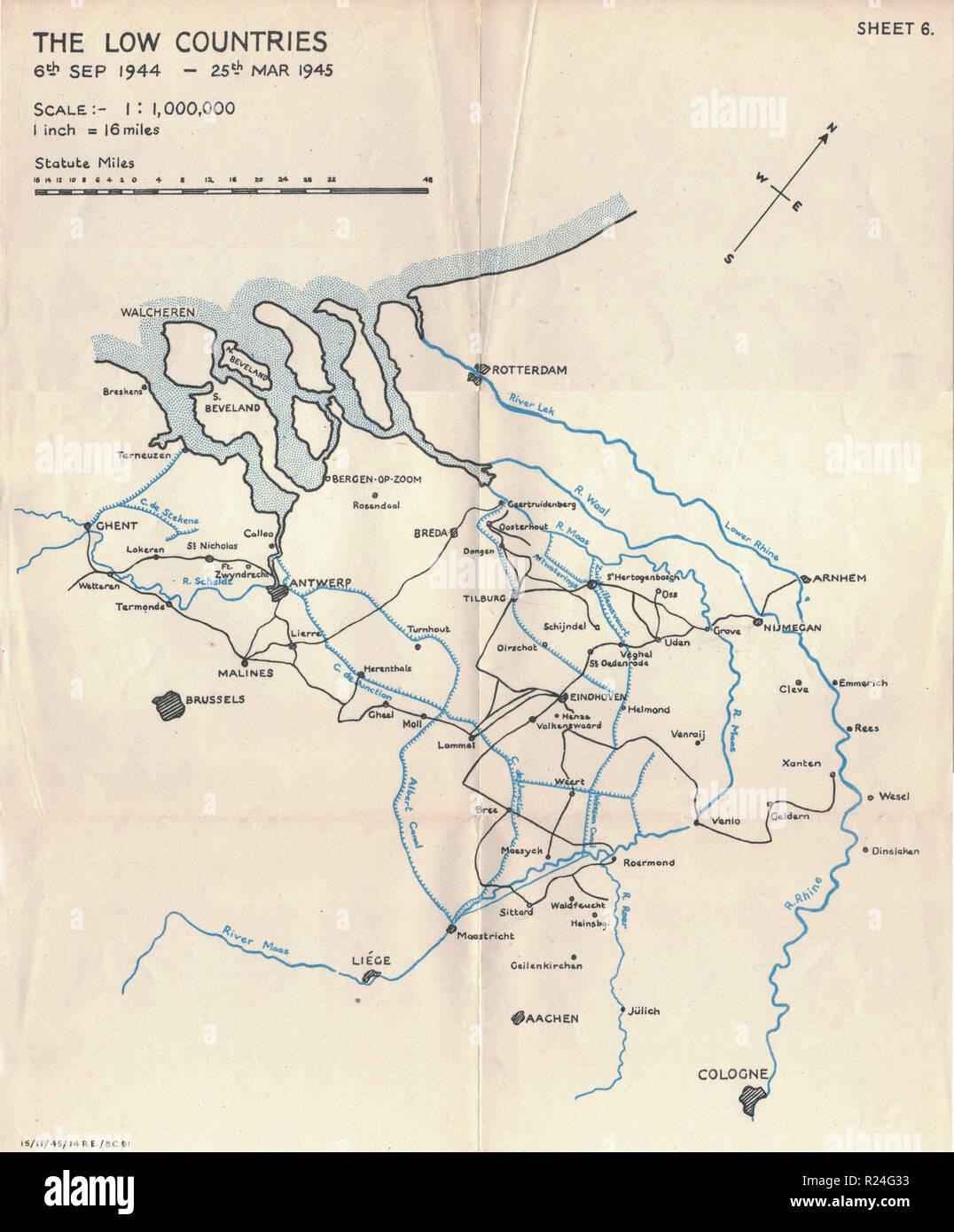 Guerra Mondiale 2 Campagna europea mappe 1945, Paesi Bassi Immagini Stock