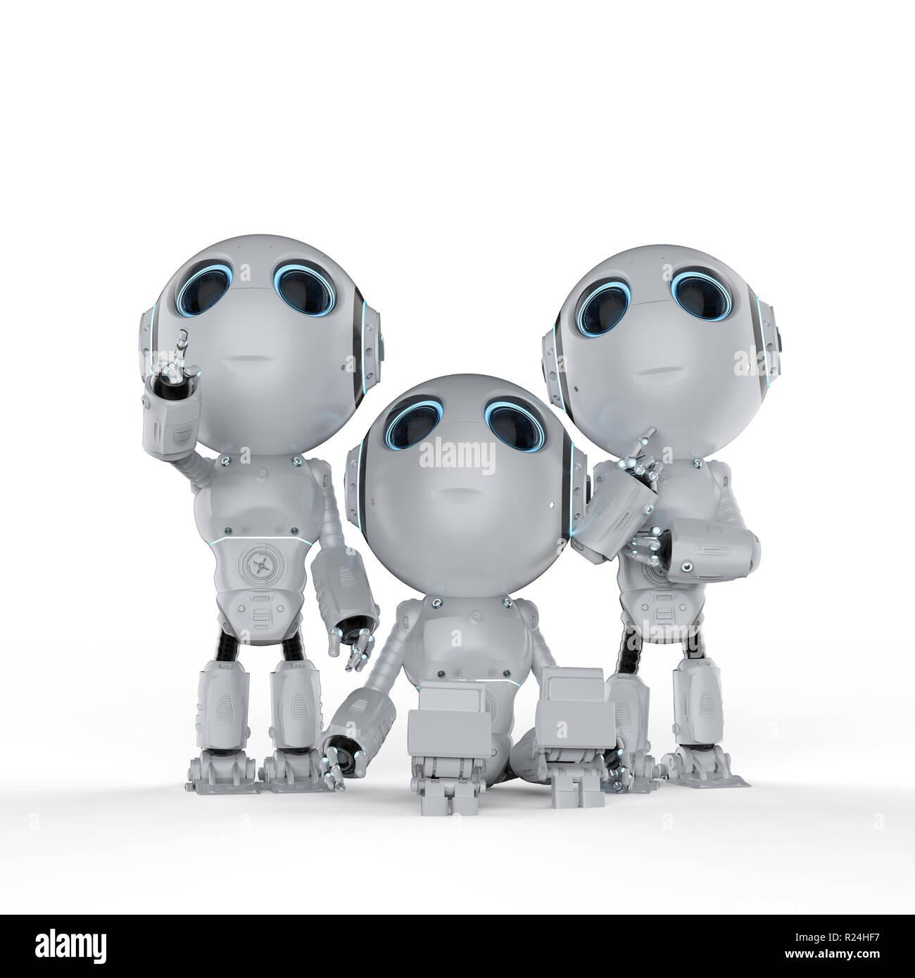 3d rendering tre graziosi di intelligenza artificiale robot con