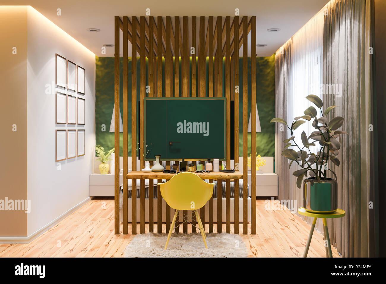 Interni Di Una Casa Di Campagna : D illustrazione di una camera da letto principale in una casa