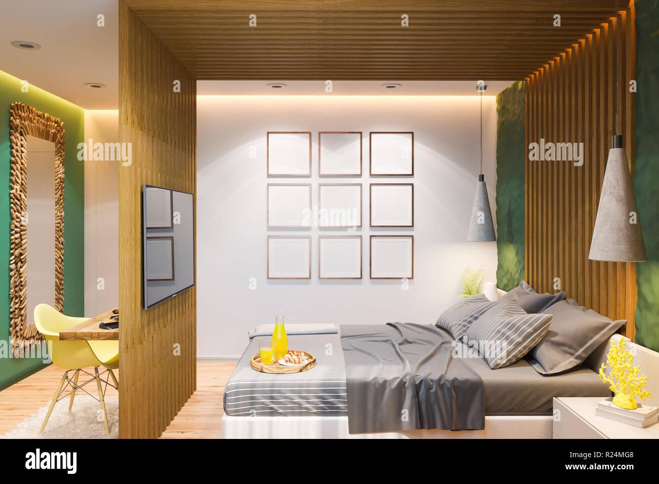 Interni Di Una Casa Di Campagna : 3d illustrazione di una camera in una casa privata in una casa di