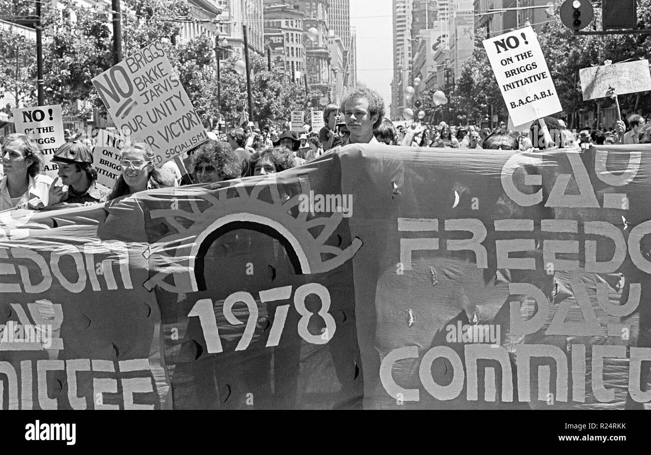 Gay Freedom Day Parade di San Francisco, California, 6/25/1978 Immagini Stock