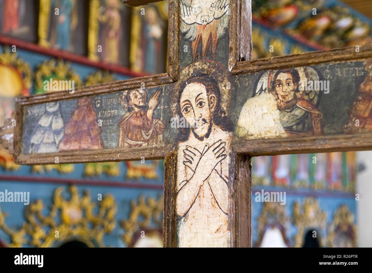 Bardejov, Slovacchia. Il 9 agosto 2018. Un'icona raffigurante crocifisso Gesù crocifisso. Da una chiesa bizantina. Attualmente in un museo di Bardejov. Immagini Stock