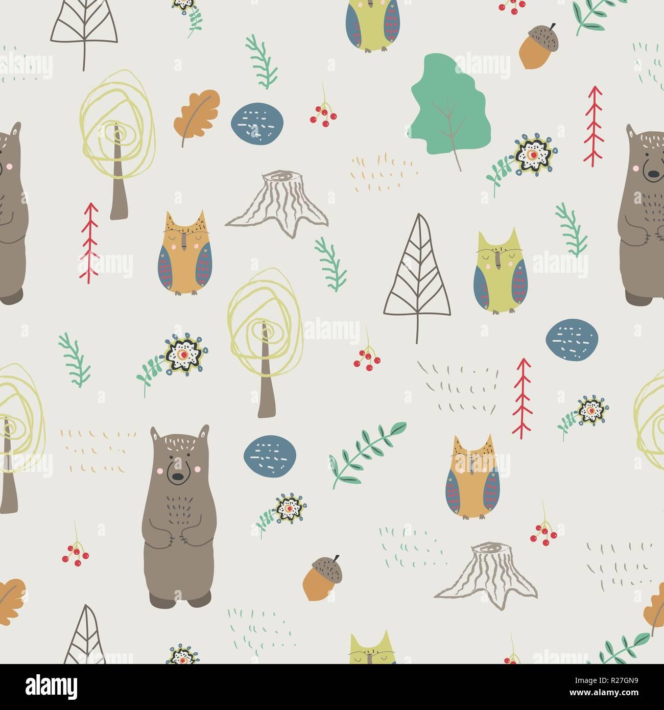 Carta Da Parati Bambini Texture.Gli Animali Del Bosco Seamless Pattern In Stile Scandinavo Bimbi
