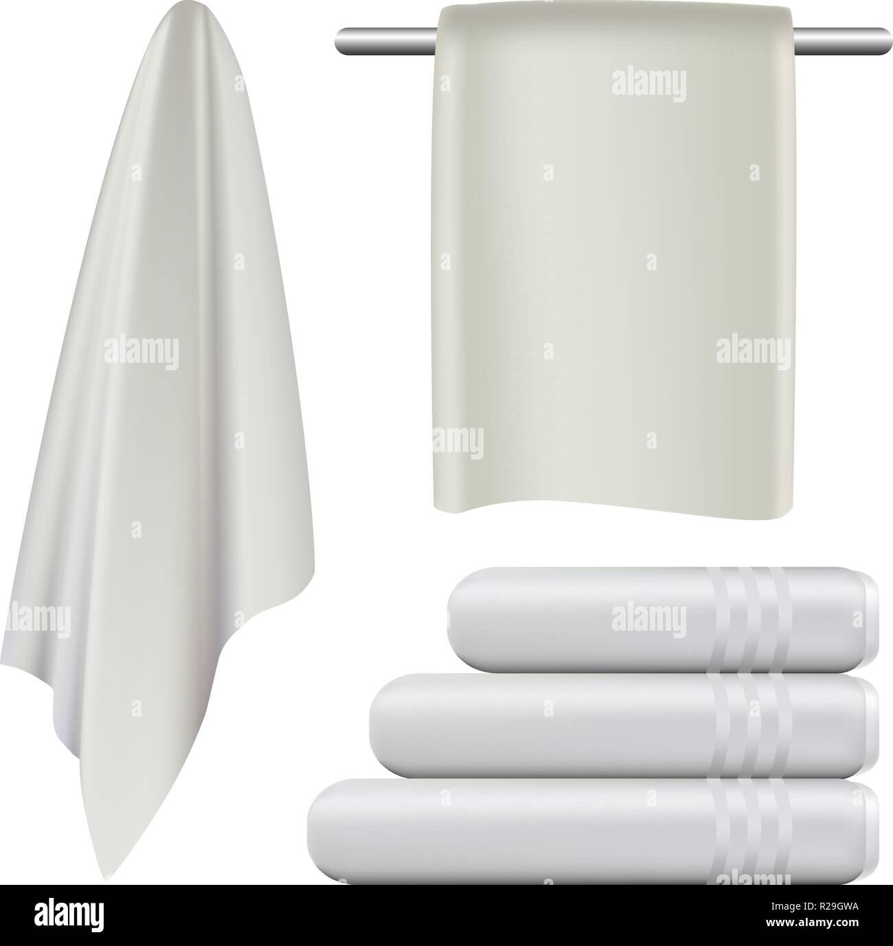 Appendere asciugamani bagno termale mockup set. Illustrazione realistica di  4 asciugamano appeso bagno termale mockups 623f44c57e56