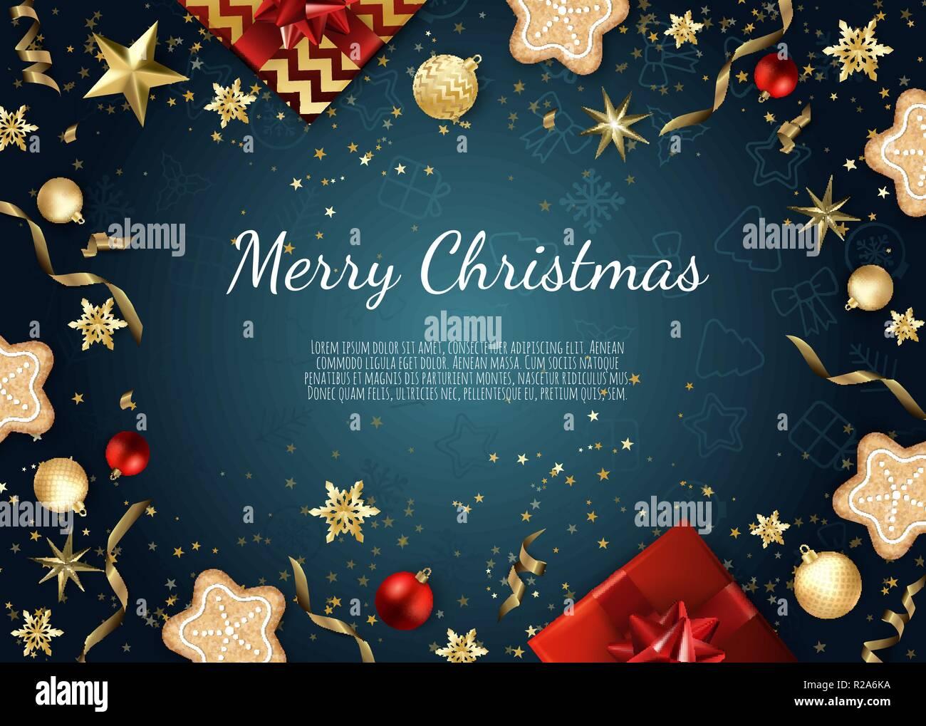 Foto Di Natale Con Auguri.Auguri Di Natale Carta Con I Cookie Stelle Decorazioni