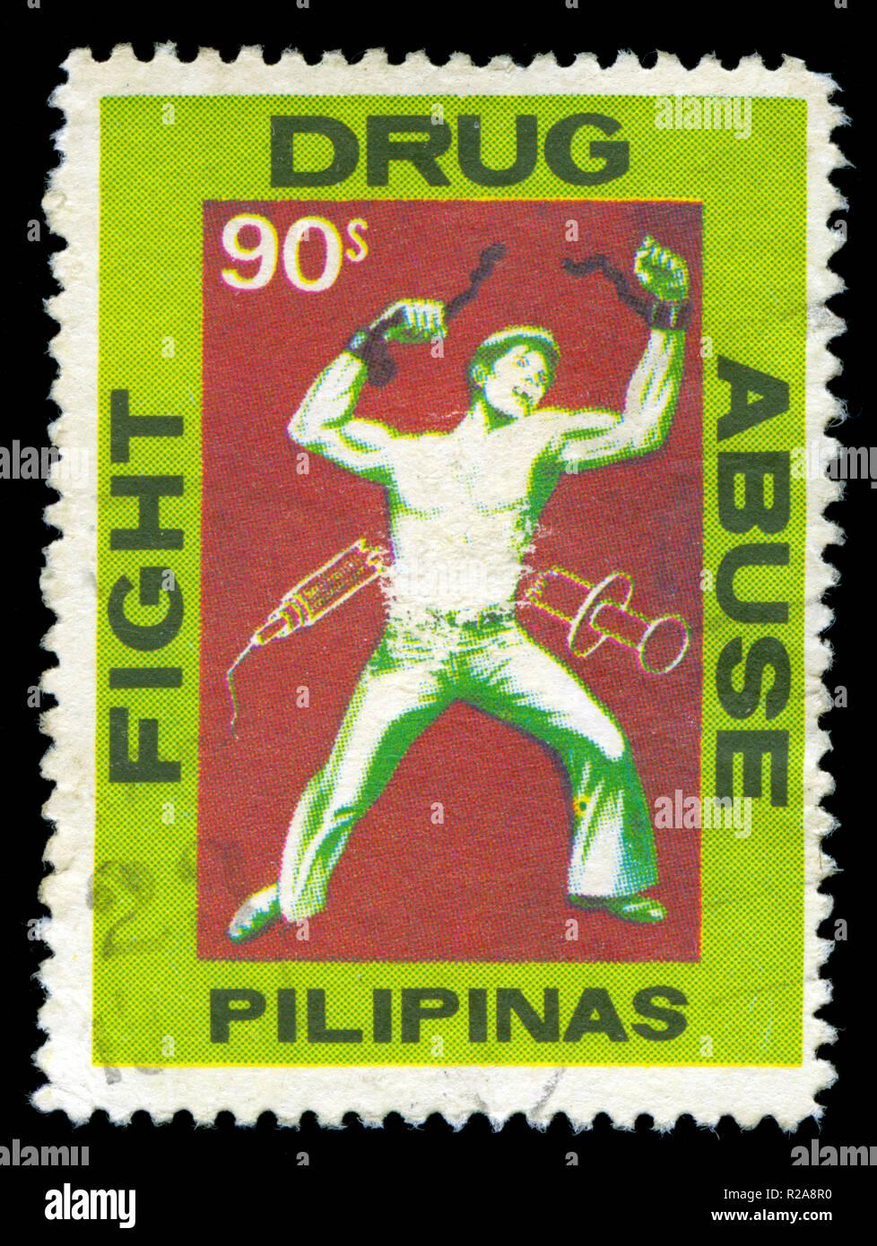 Francobollo dalle Filippine nel combattere la droga serie emesse nel 1979 Immagini Stock