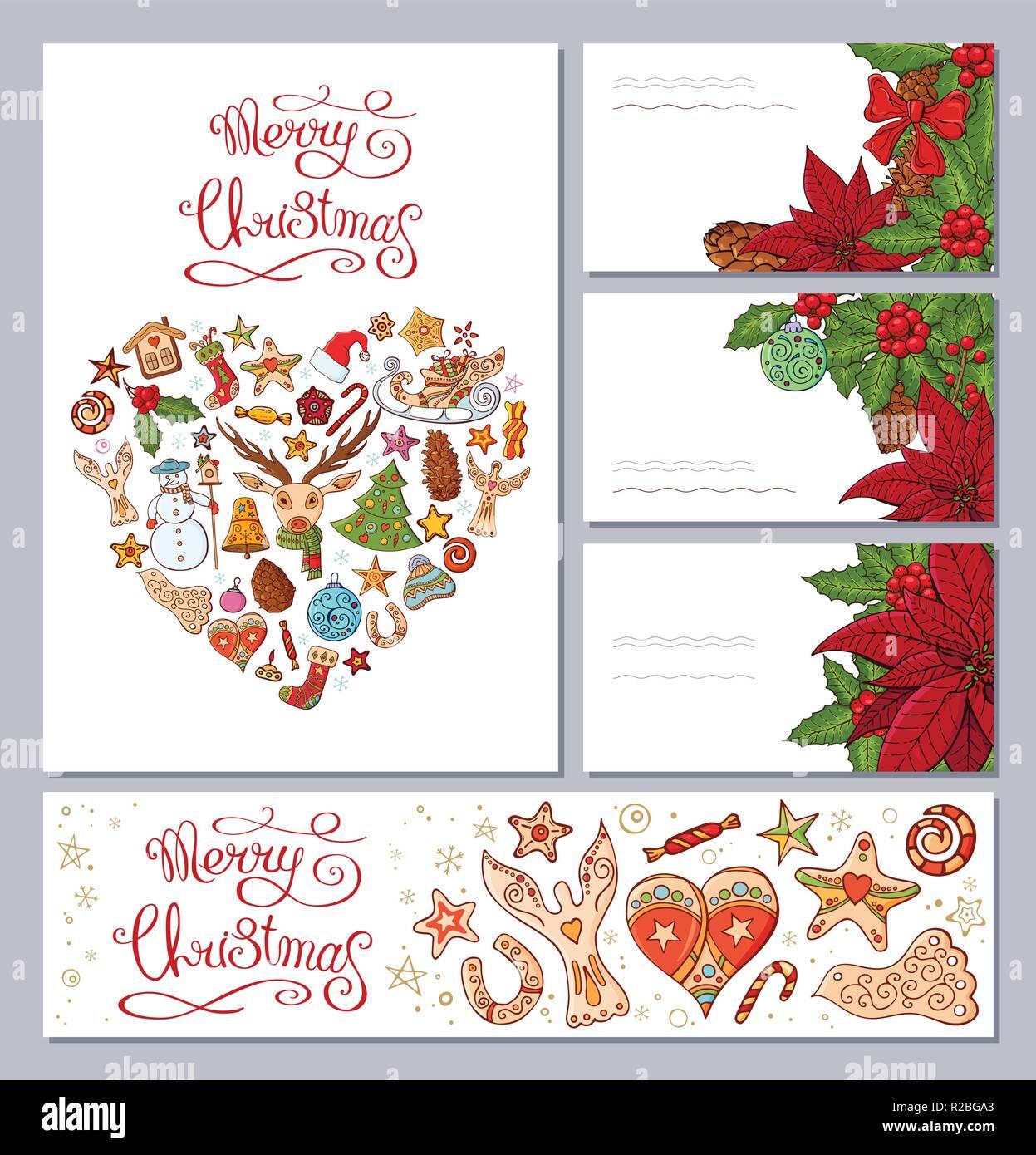 Biglietti Di Natale Modelli.Modelli Di Festa Con Diversi Tradizionali Simboli Di Natale E La