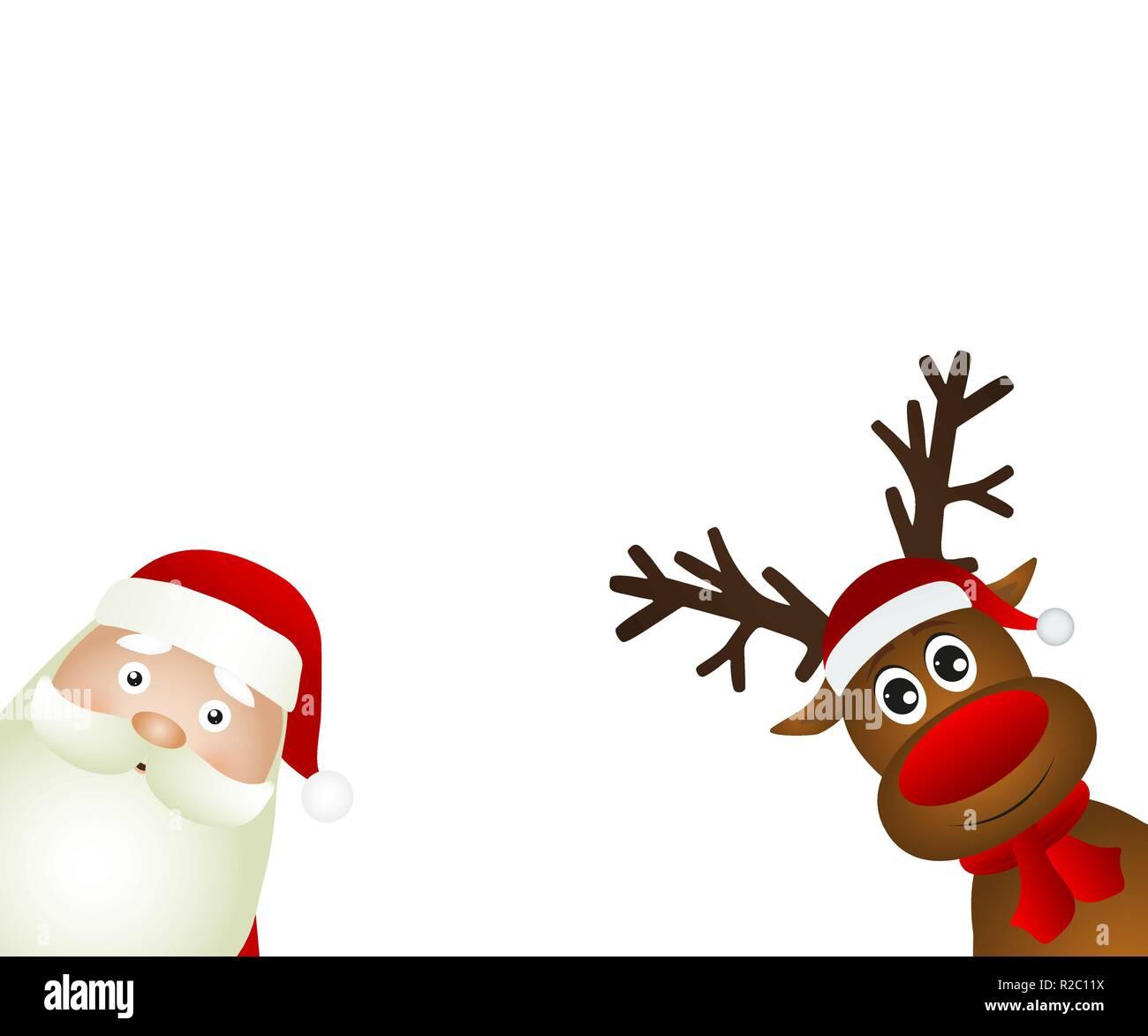 Renne Babbo Natale.Babbo Natale E La Renna Illustrazione Vettoriale 225228358 Alamy