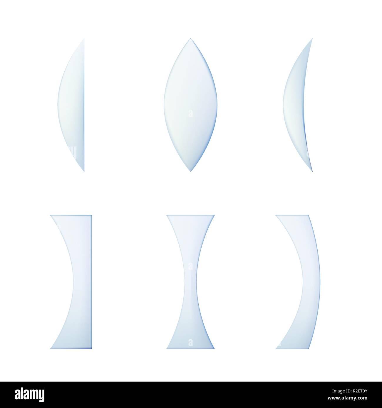 Set di lenti in vetro di diverse sezioni trasversali. Illustrazione Vettoriale. Raccolta di dispositivi ottici. Immagini Stock