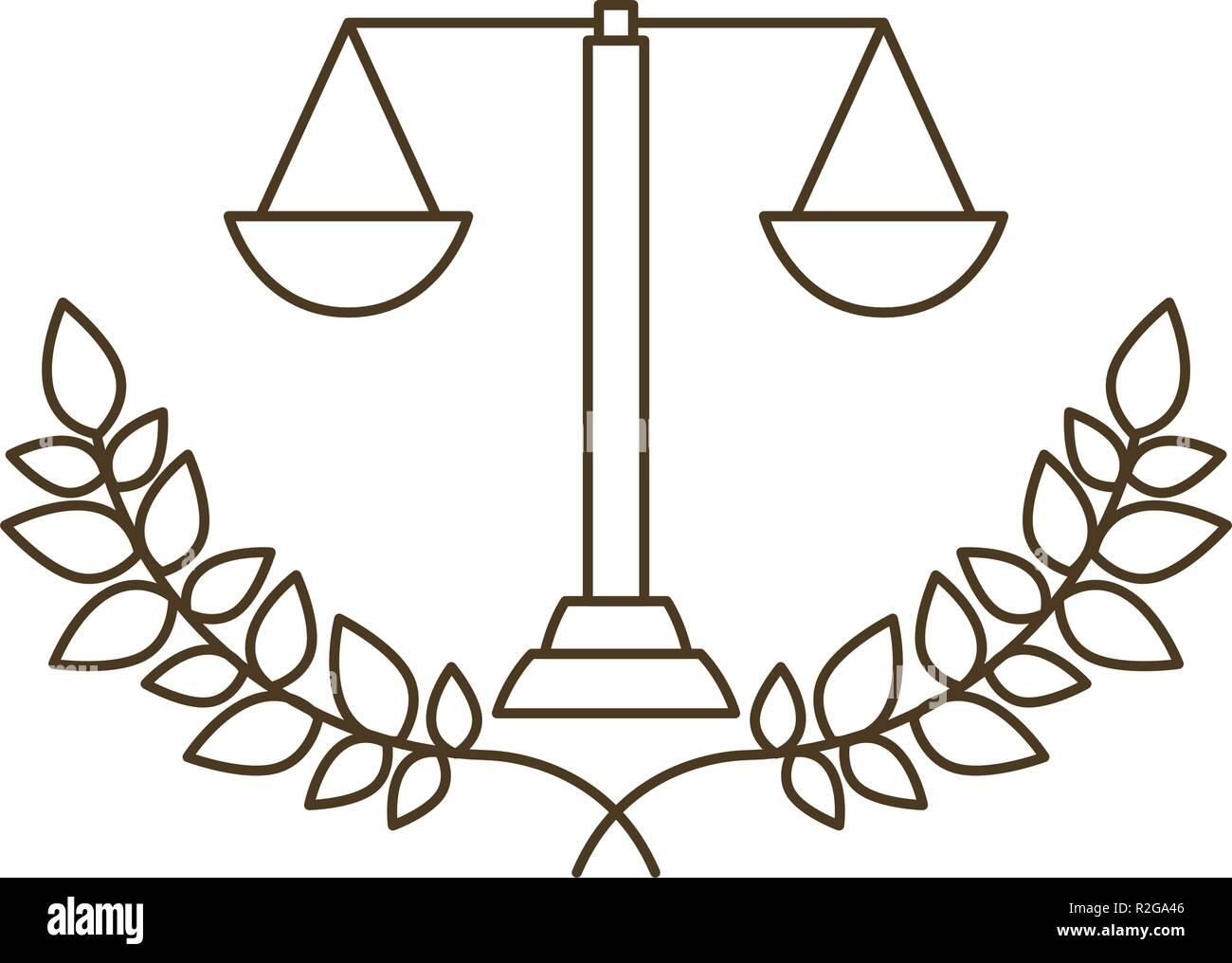 Bilancia Della Giustizia Con Ramo Di Albero Con Foglie Icona Isolato