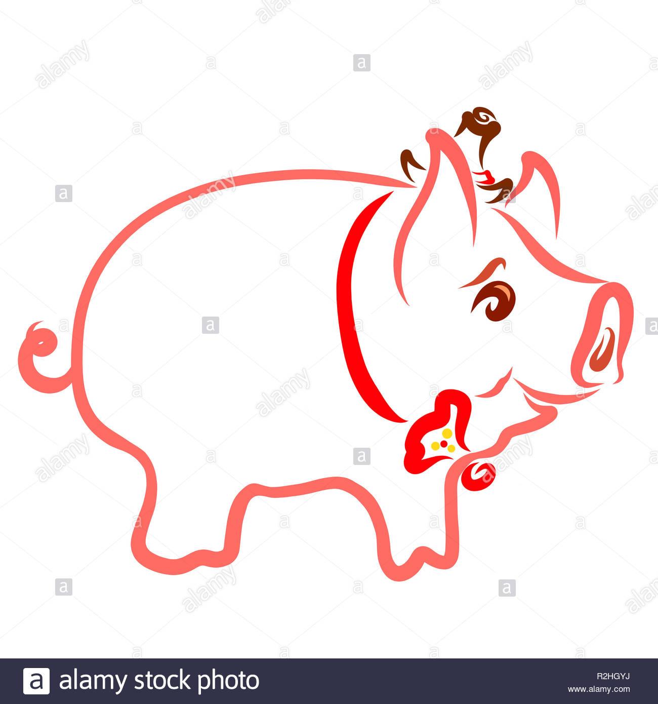 Business il grasso del maiale felice in un cappello e tirante Immagini Stock 3fe1ae24940a