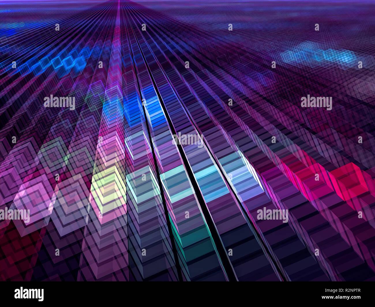 Cubi Colorati Su Sfondo Viola Abstract Generati Con Il Computer 3d