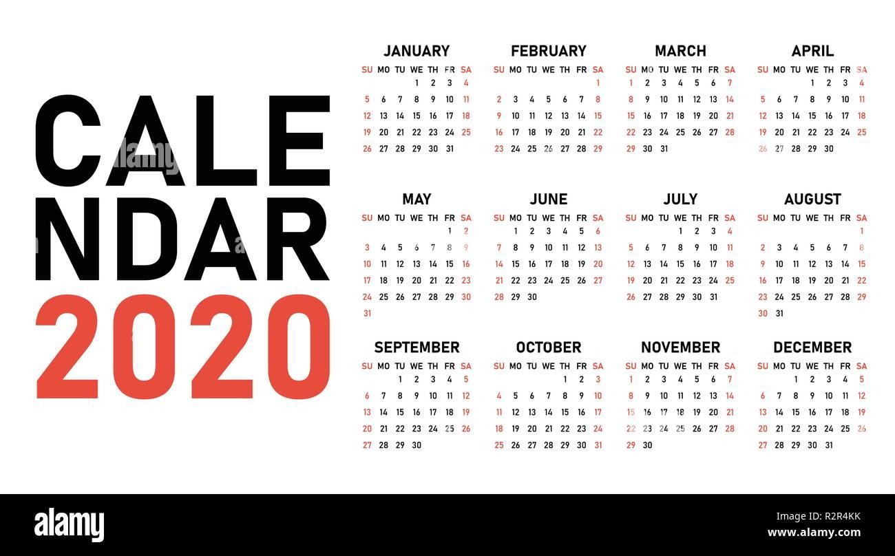 Calendario 2020 Con Numero Settimane.Calendario 2020 Template Design Illustrazione Vettoriale