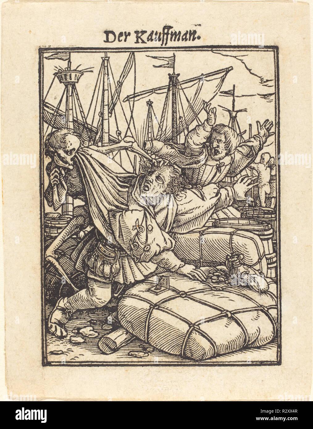 Merchant. Medium: xilografia. Museo: National Gallery of Art di Washington DC. Autore: Hans Holbein il Giovane. Immagini Stock