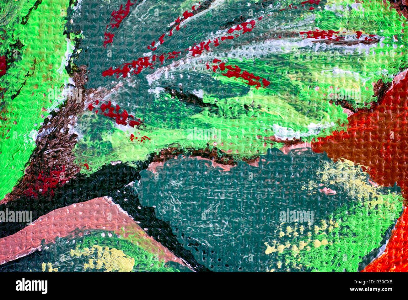 Close-up del disegno a mano di pittura acrilica. Immagini Stock