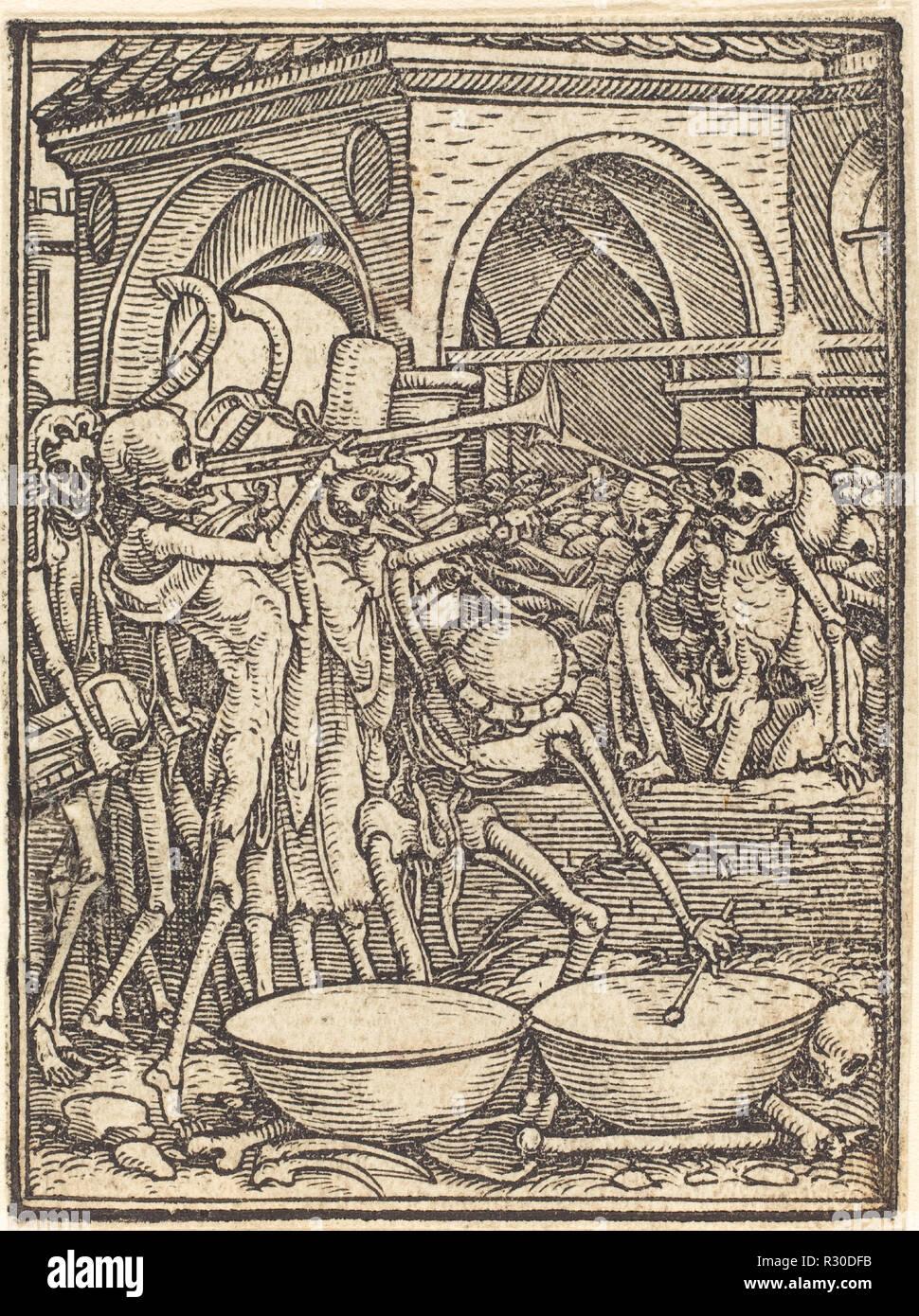 Fine dell'umanità. Medium: xilografia. Museo: National Gallery of Art di Washington DC. Autore: Hans Holbein il Giovane. Immagini Stock