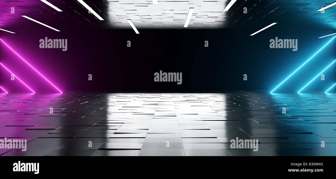 Elegante futuristico sci fi scuro moderna stanza vuota con