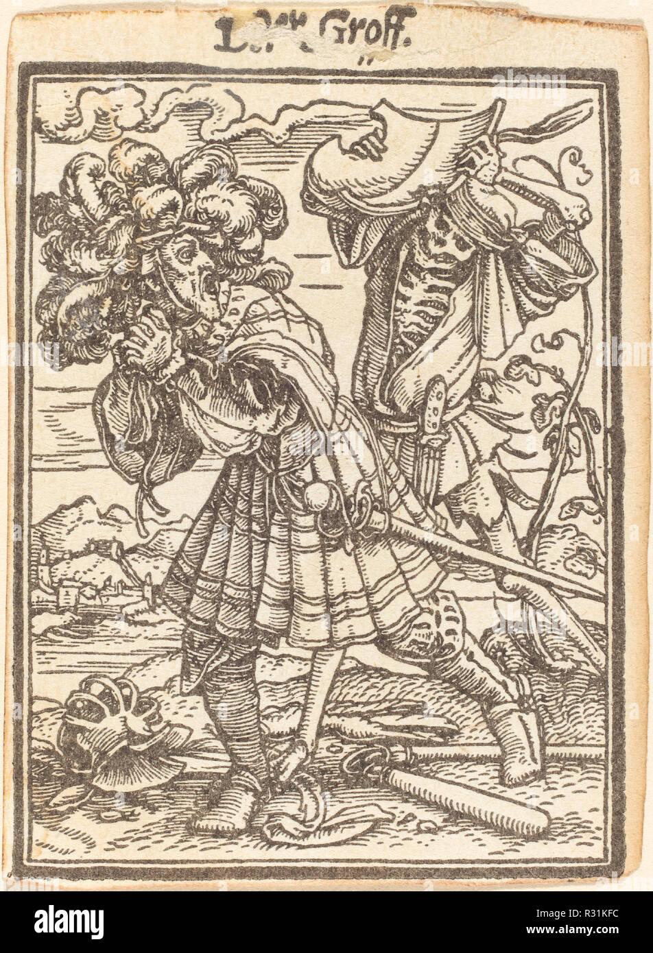 Conteggio. Medium: xilografia. Museo: National Gallery of Art di Washington DC. Autore: Hans Holbein il Giovane. Immagini Stock