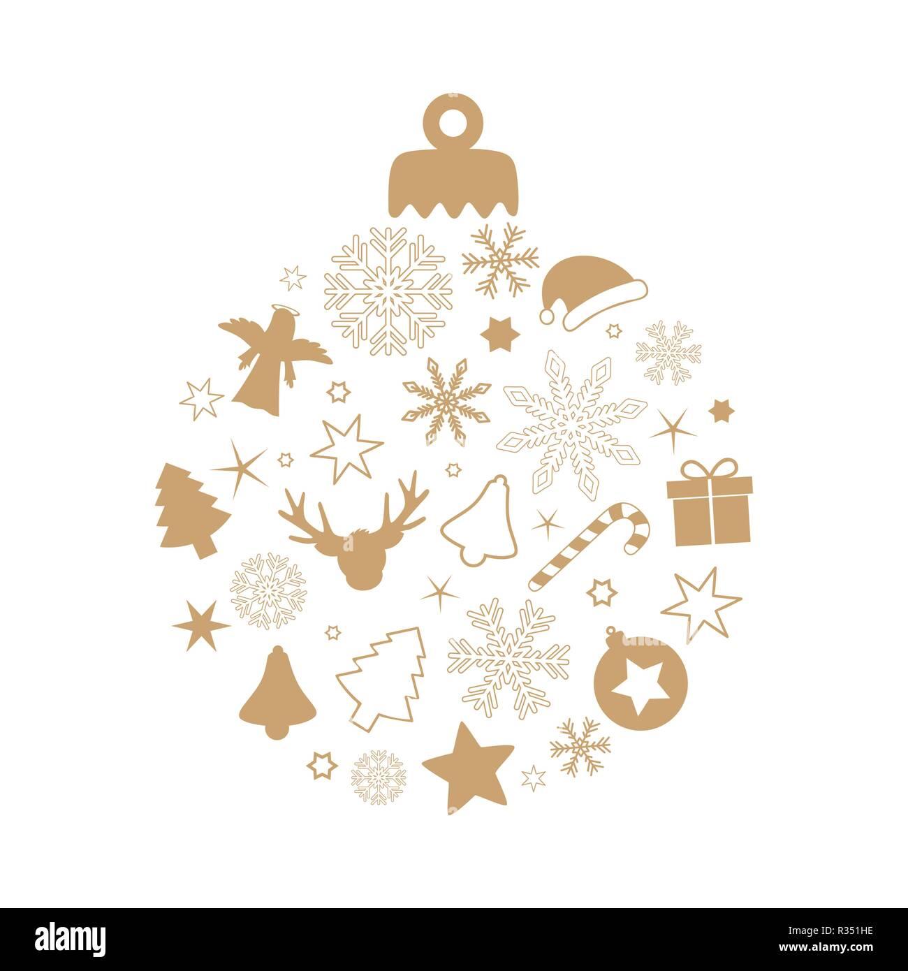Pallina di natale con diversi simboli renne snowflake fir star candy cane dono angelo campana isolati su sfondo bianco Immagini Stock