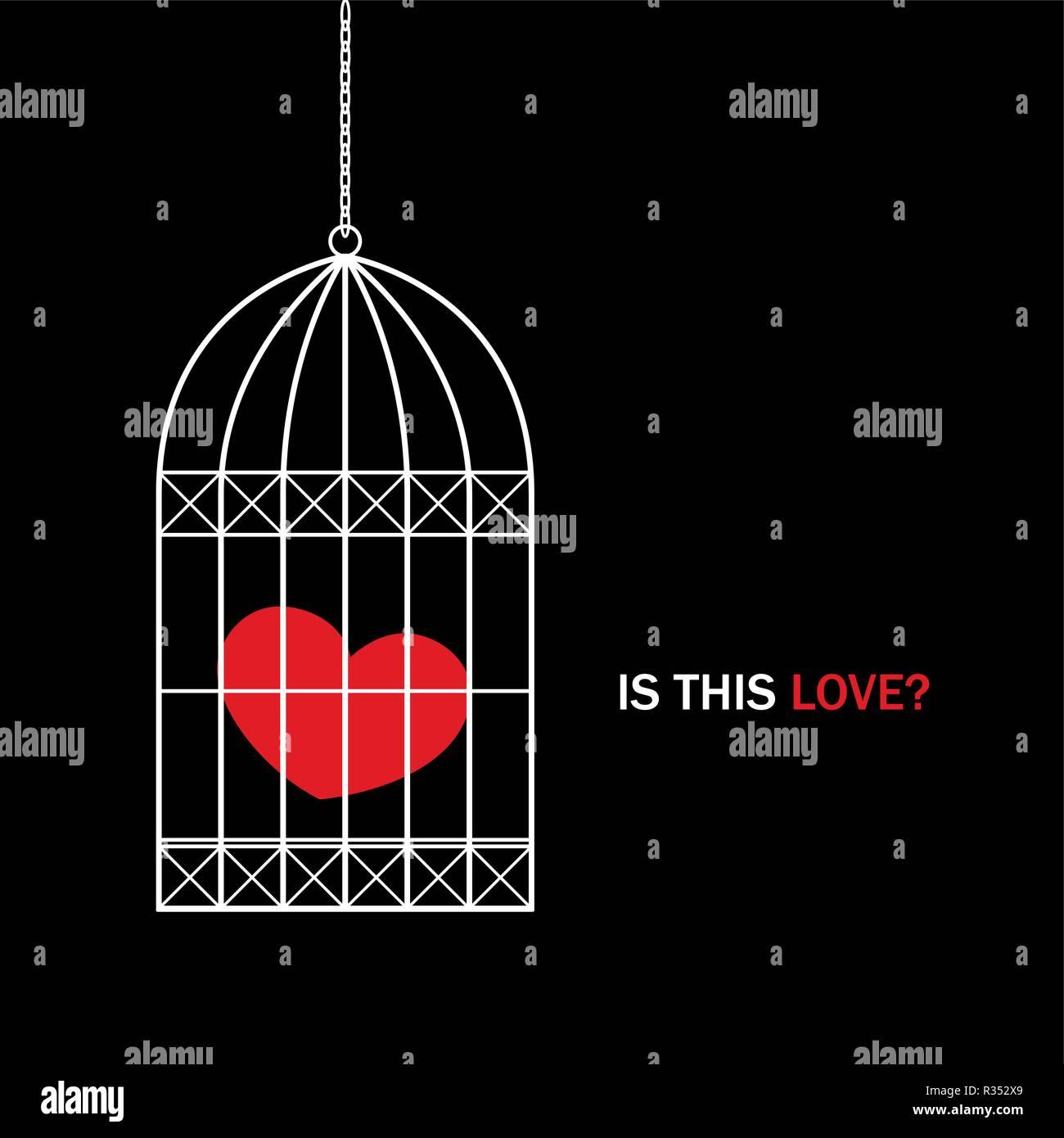 Cuore Rosso In Una Gabbia Per Uccelli Con Il Testo è Questo Amore Su