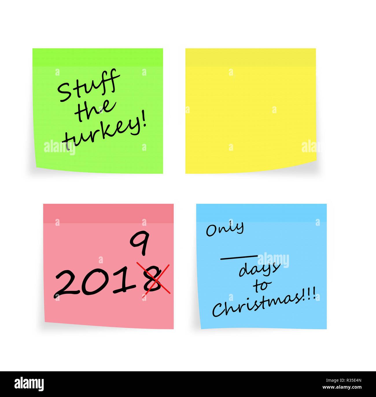 Natale e Anno Nuovo promemoria. Stuff Turchia, giornate di shopping etc. Plus blank nota adesiva per il tuo messaggio. Sul bianco. Immagini Stock