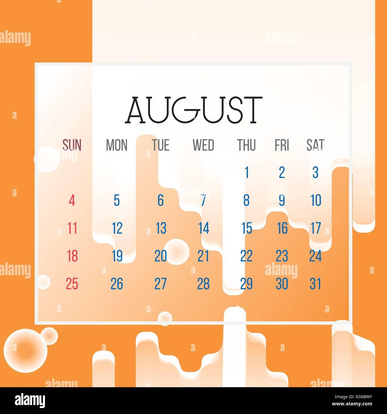 Pagina Calendario Agosto 2019.Agosto 2019 Calendario Leaf Illustrazione Vettore Grafico
